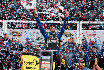 Jimmie Johnson won his second Daytona 500 by beating home team-mate Dale Earnhardt Jr