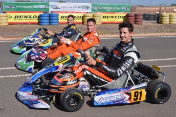 Nick Percat (front), Scott Pye and Tim Slade launched the Australian Karting Championships in Adelaide today (PIC: AF Images)