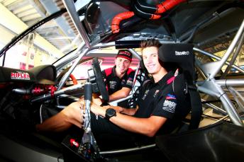 Nick Percat poses with Tony D'Alberto in the Hiflex Holden