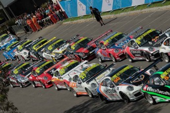 Carrera Cup action at the Aussie Grand Prix meeting has begun without Richie Stanaway