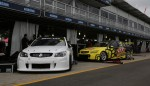The Tekno Autosports Commodores, one of which won the Clipsal 500 on the hard tyre, in the Albert Park pitlane