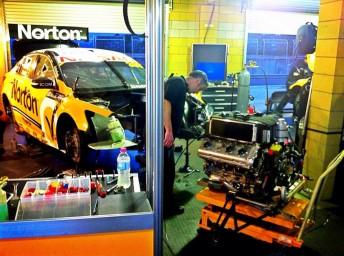 Moffat's engine change underway on Saturday evening