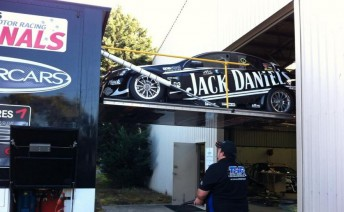 The two Holdens were loaded into the ex-Jack Daniel's Racing transporter that is currently used for THR's Kumho V8 effort