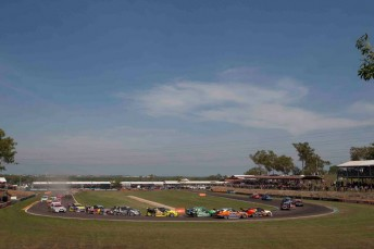 The V8 Supercars field at Hidden Valley