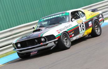 John Bowe's Mustang on track during practice