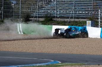 Lewis Hamilton found the wall at Turn 1. pic: formula1.com