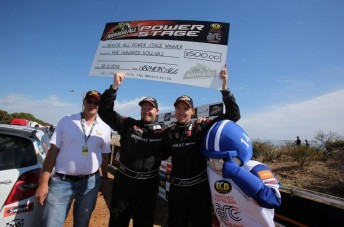Scott Pedder and Dale Moscatt celebrate winning the ARMOR ALL Power Stage