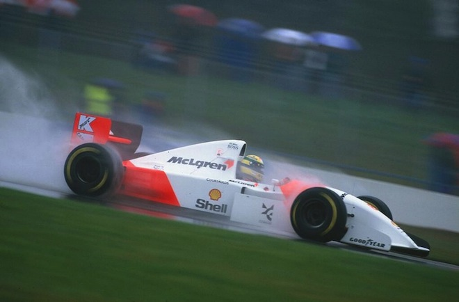 Senna on his way to victory in the 1993 European Grand Prix at Donington Park