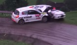 VIDEO: Rally crash of a different kind