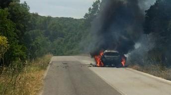 Hirvonen's Fiesta destroyed  in the fire
