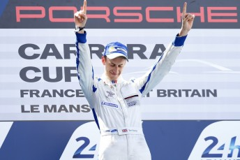 Ben Barker celebrates after taking victory in the Carrera Cup Le Mans curtain-raiser