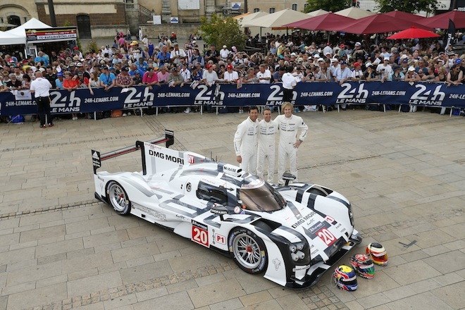 Brendon Hartley, Timo Bernhard and Mark Webber at Le Mans scrutineering