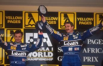 The penultimate F1 grand prix podium at Kyalami. Nigel Mansell and Riccardo Patrese finish 1-2 in 1992