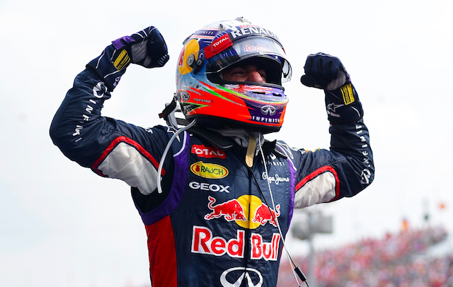 Daniel Ricciardo celebrates his second Formula 1 victory