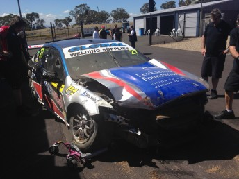Peter Rullo suffered a heavy shunt in the closing stages of the opening Dunlop Series practice session