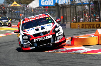 James Courtney attacking the beach chicane