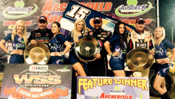 Donny Schatz (centre) celebrates World Series Sprintcar win at Archerfield Speedway
