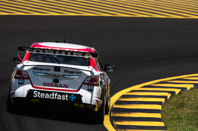 Co-drivers Fiore and Douglas cut laps in the two Nissan Nismo Altimas
