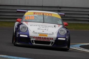 Ryan Simpson has won on debut in the Porsche GT3 Cup Challenge at Sandown