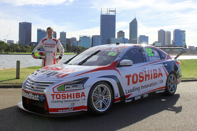 James Moffat posing with the Toshiba Nissan in Perth