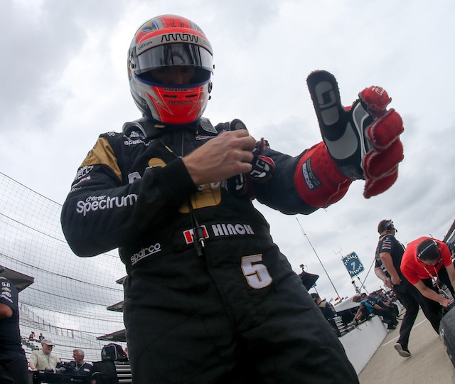 James Hinchcliffe prepares to climb aboard his #5 Schmidt Peterson Motorsports Honda for Practice 9 at Indianapolis