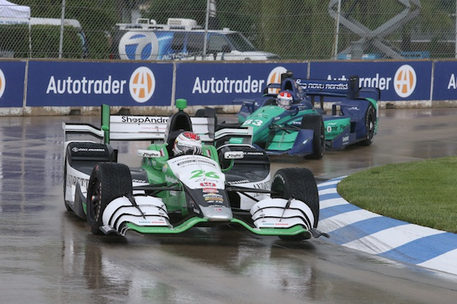 Carlos Munoz claims his first IndyCar series after the wet Detroit opening race was cut short due to lightning in the area