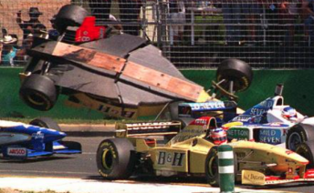 Martin Brundle was lucky to escape this shunt at the 1996 Australian Grand Prix