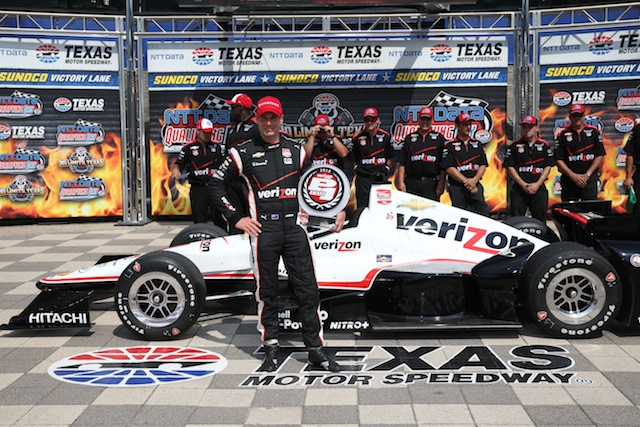 Will Power has claimed his third straight pole position at Texas