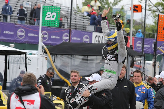 Sebastien Bourdais defied the odds to claim victory in the final leg of the Dual in Detroit