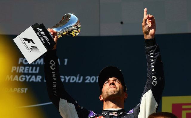 An emotional Daniel Ricciardo celebrates first podium of the season