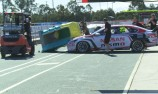 VIDEO: Toilet falls on Nissan V8 Supercar