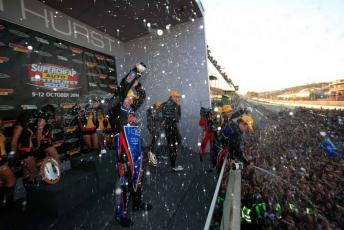 Paul Morris celebrates his Bathurst win in 2014