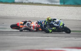 Valentino Rossi and Marc Marquez collide during the Malaysian Grand Prix