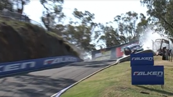 Marshals run for cover as Mostert's Ford rides the wall