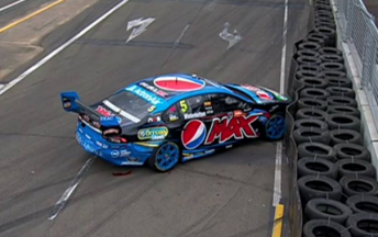 Winterbottom slid into eh tyre wall at Turn 1