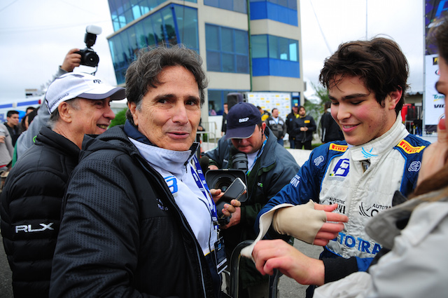Nelson Piquet with son Pedro after an F3 win at Curitiba in their native Brazil