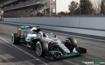 Lewis Hamilton during the final day of the Barcelona test