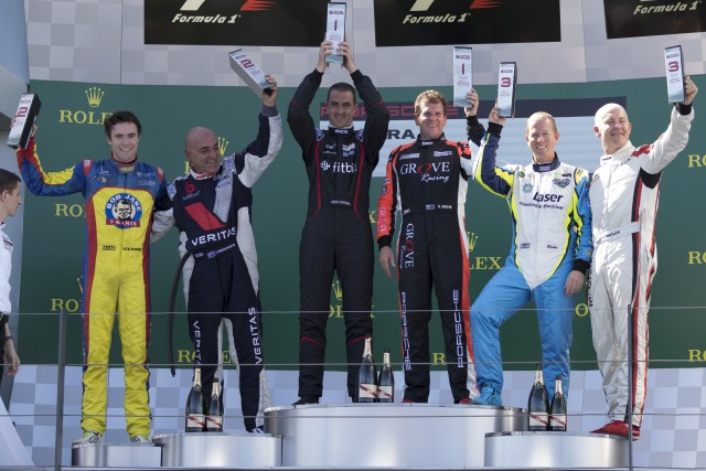The Carrera Cup podium at Albert Park with pro and Tag Heuer Carrera Challenge
