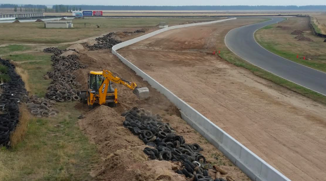 Track works taking place on the back straight, pictured last month