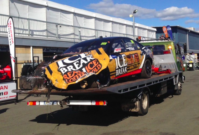 Chris Pither's Ford after its Symmons Plains crunch