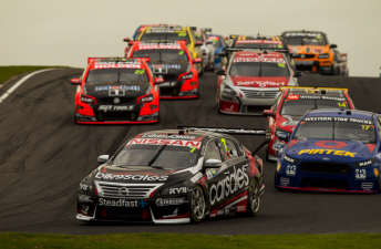 Todd Kelly's Nissan in the pack at Phillip Island
