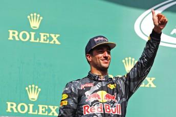 Daniel Ricciardo celebrates a second place finish in Belgium