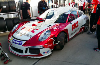 Nico Menzel's damaged car following the roll in qualifying