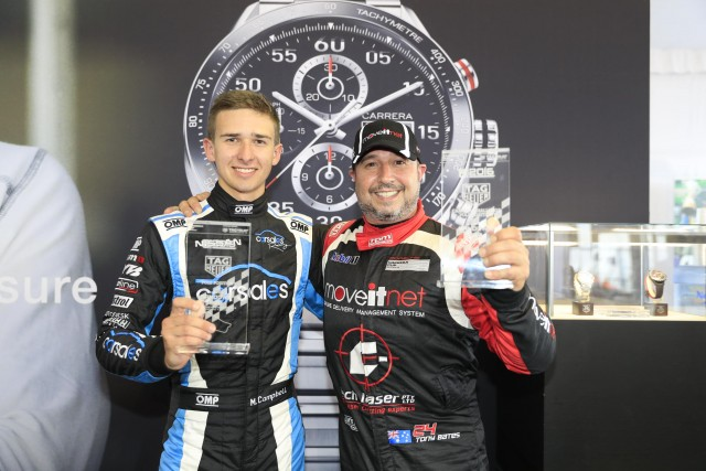 Campbell and Bates with their Carrera Cup pole awards