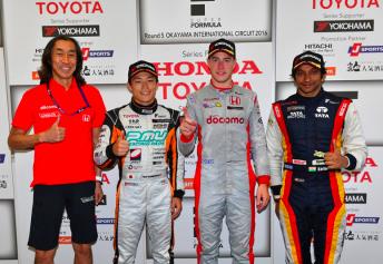 Stoffel Vandoorne (centre) celebrates victory at Okayama pic: Super Formula Facebook