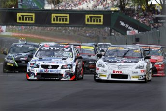 Simon Evans (left) made a perfect start to his BNT NZ V8 Touring Cars title defence