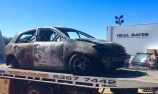 Fire destroys car at Eureka Rally