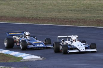 Don Hume Ralt RT4 and Jason White Lola T192 dice on a slick track