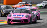 Jaxon Evans on podium in Spain in Porsche Mobil 1 Supercup