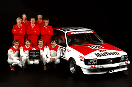 John Harvey, Gary Scott, Larry Perkins and Peter Brock with the HDT crew in a 1982 shoot in Melbourne